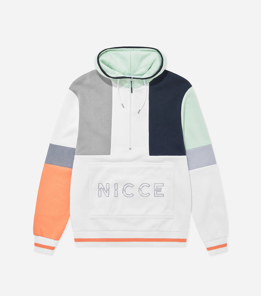 NICCE limited edition teria hood in coral, deep navy and white. Features oversize fit, colour block design, mesh pouch pocket, funnel neck, multi colours, large front branding and tipped ribbing. Pair with matching shorts.