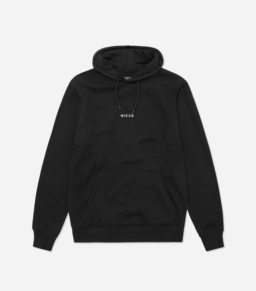 Mini centre logo hood in black, featuring mini printed NICCE chest logo, drawstring hood and cuffed sleeves and hem. A simple and easy piece, great to layer and throw on with jeans or joggers.