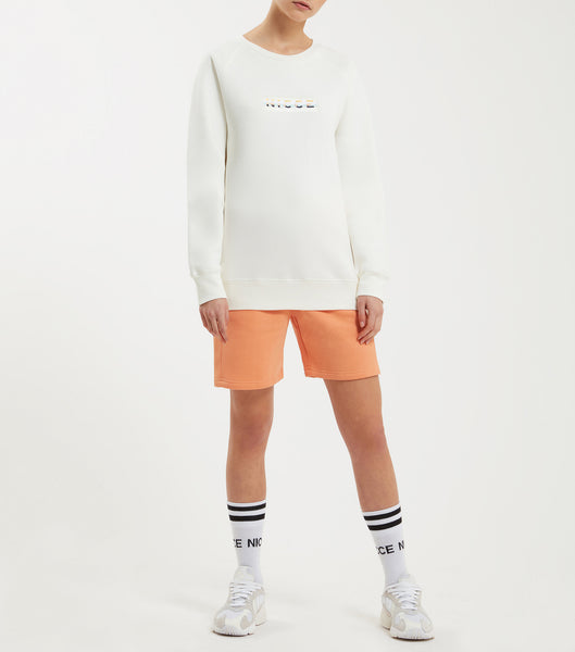 Hyam sweatshirt in off white. Featuring 90s five colour box embroidery logo, crew neck and raglan sleeve. Pair with joggers.