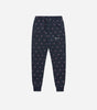 Motif joggers in navy. Featuring elasticated waistband, oversized fit, two side pockets, printed repeat logo and elasticated cuffs.  Pair with hood.