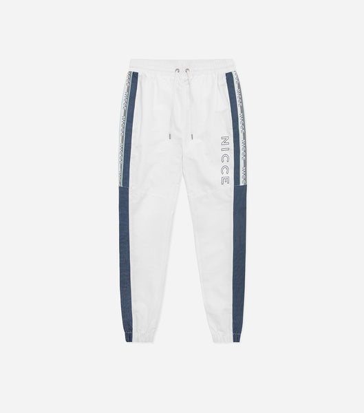 Avalo track pants in white. Featuring colour block design, branded taping, reflective panelling and printed logo. Pair with avalo track jacket.