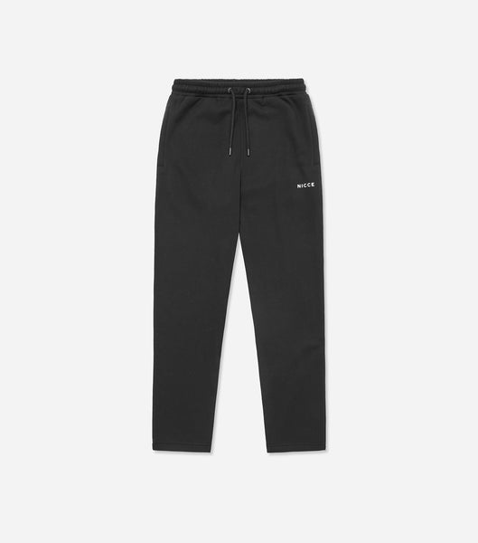 Black joggers made from soft cotton mix featuring a printed mini NICCE logo on the left leg. An oversized fit, cropped leg, elasticated waist with drawcord, side pockets and ankle cuffs. Wear with matching hood or sweat.