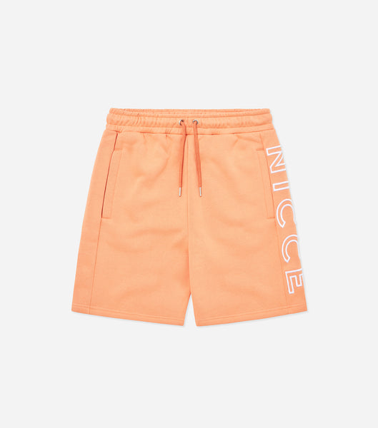 Bower jog shorts in coral. Featuring large embroidered logo, zip pockets and elasticated waistband. Pair with matching bower hood.