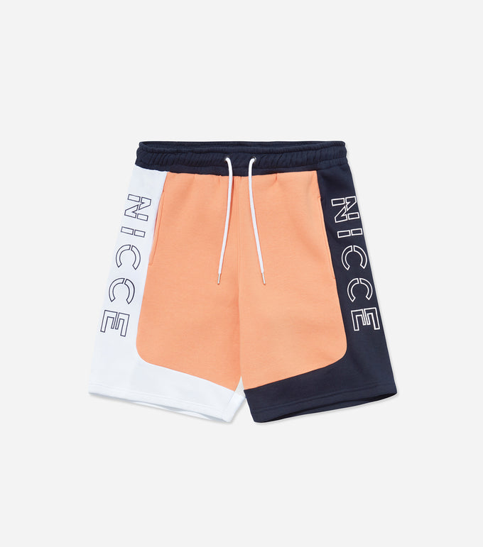 Limited edition cabana jog shorts in coral, navy and white. Featuring colour block design, pockets, elasticated waistband and large leg branding.
