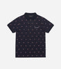 Motif polo shirt in navy. Featuring all over print, classic polo shaping and design. Pair with matching joggers.