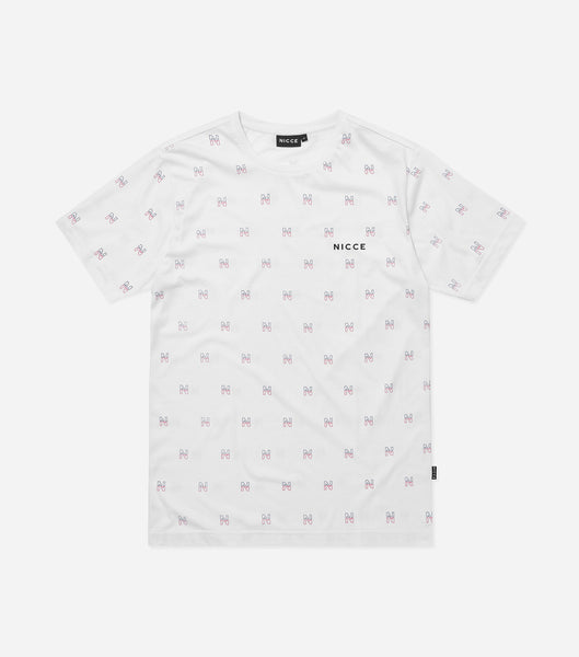 Motif t-shirt in white. Featuring crew neck, short sleeves and repeat motif branding. Pair with joggers.  This is a unisex product, size down for true women's sizing.