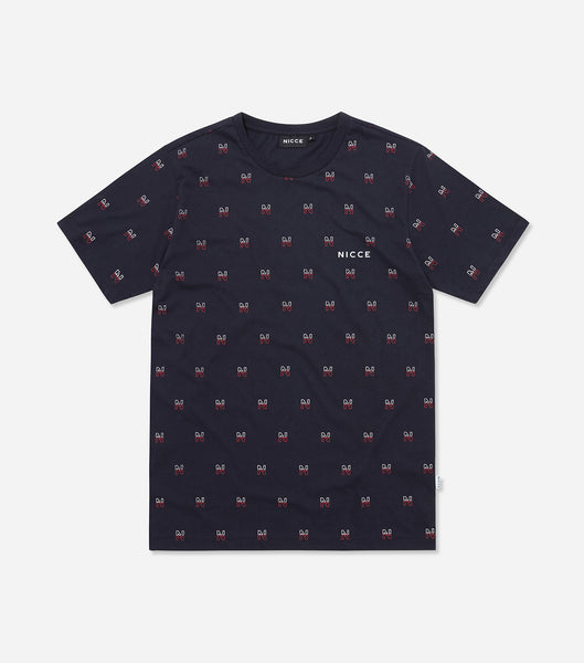 Motif t-shirt in navy. Featuring crew neck, short sleeves and repeat motif branding. Pair with joggers.