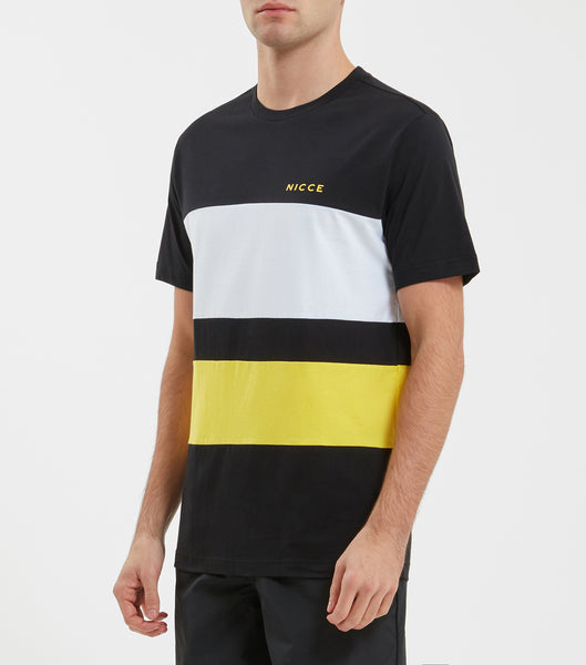 Masli t-shirt in black and yellow. Featuring colour block design, crew neck, short sleeves and printed logo. Pair with joggers or denim.