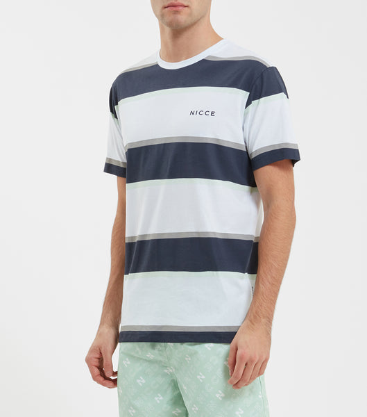 Colum t-shirt in white. navy and mint. Features crew neck, short sleeves, stripe print design and printed logo. Pair with joggers or denim.