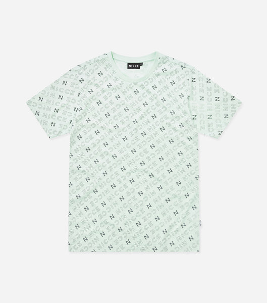 All over print t-shirtin mint. Featuring crew neck, short sleeves, printed repeat 'N' logo branding. Pair with joggers or denim.