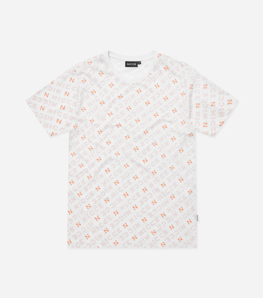 All over print t-shirtin coral. Featuring crew neck, short sleeves, printed repeat 'N' logo branding. Pair with joggers or denim.