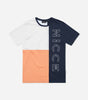 NICCE White label Abana t-shirt in coral. Featuring crew neck, short sleeves, colour block design with large front printed logo. Pair with joggers or denim.  *NICCE White label - Produced in a limited quantity.
