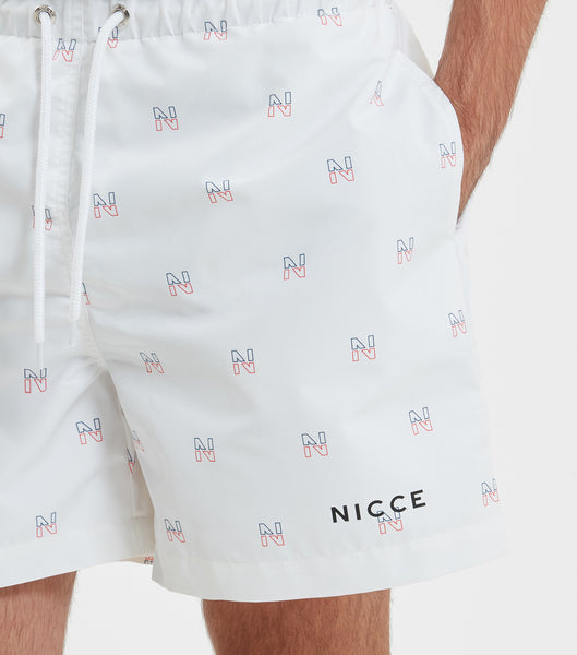 NICCE Mens Motif Swim Shorts | White, Shorts
