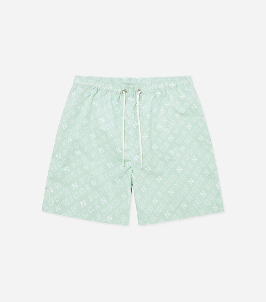 Tarcola swim shorts in mint. Featuring repeated 'N' logo design, mesh lininer, pockets, elasticated waistband and pull cord. Pair with vest or t-shirt.