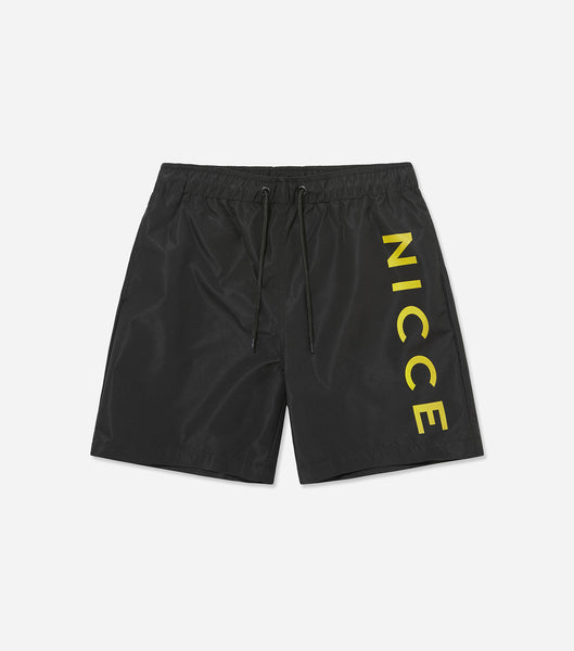 Snappa swim shorts in black. Features large yellow printed logo, mesh lining, pockets, elasticated waistband and drawcords. Pair with t-shirt or vest.