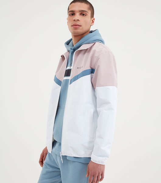 Avala track jacket in white. Featuring high neck, regular fit, full zip, colour block design in pink, blue and white and printed logo.