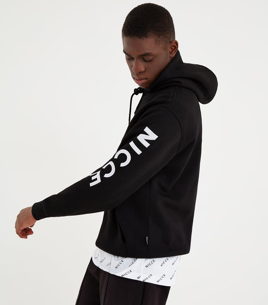 Radon hood in black. Features classic sweatshirt design, regular fit, hood, chest logo and printed arm logo. Pair with joggers or denim.