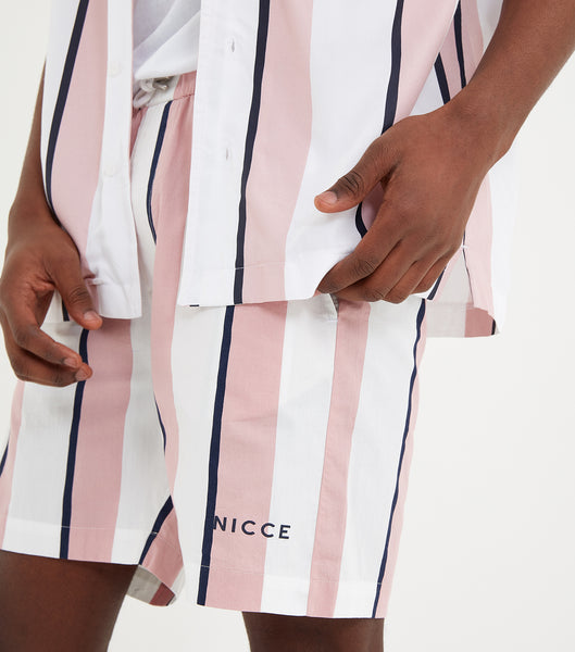 Stripe shorts in pink, white and navy. Features waistband, stripe fabric design, two pockets, regular fit. Pair with tee or shirt.