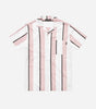 Stripe short sleeve bowler shirt in pink. Featuring classic shirt fit, collar, breast pocket, short sleeves, stripe design in pink, navy and white. Pair with jeans or shorts.