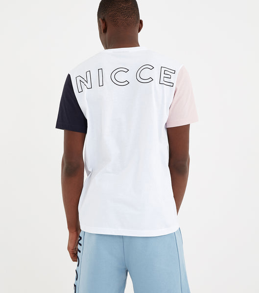 Neos short sleeve t-shirt in white. Featuring small chest printed logo, short sleeves, crew neck and contrasting colour block short sleeves. Pair with joggers or denim.
