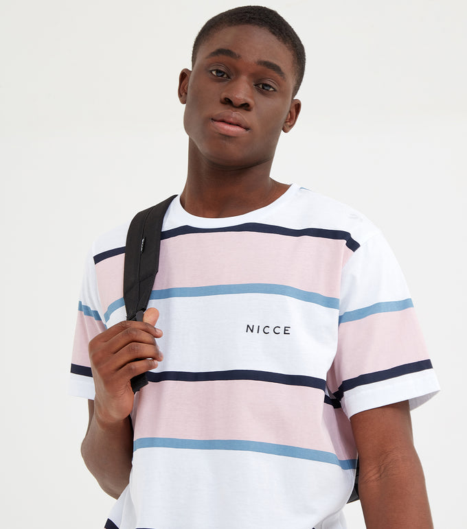 Colum short sleeve t-shirt in white and pink. Featuring stripe design in navy, pink and blue, crew neck and printed logo. Pair with joggers or shorts.