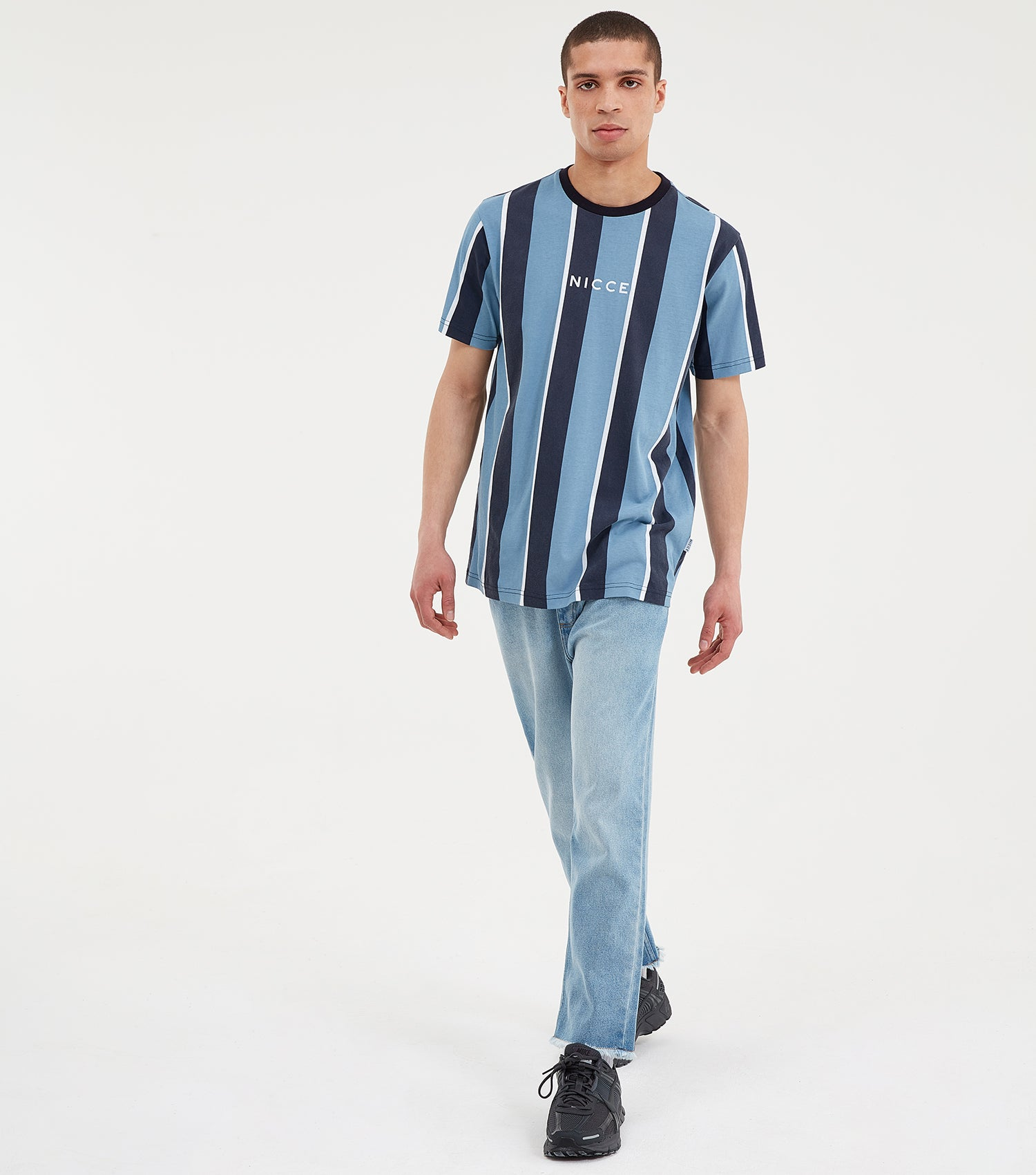 Stripe short sleeve t-shirt in blue. Featuring vertical stripe design in blue, white and navy, crew neck, short sleeves and printed centre logo. Pair with shorts or joggers.