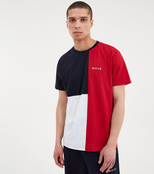 Triple short sleeve t-shirt in red. Featuring colour block design in red, navy and white, short sleeves, crew neck and printed logo. Pair with joggers or shorts.