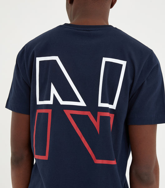 Split N short sleeve t-shirt in navy. Featuring crew neck, short sleeve and white printed logo. Pair with joggers or shorts.