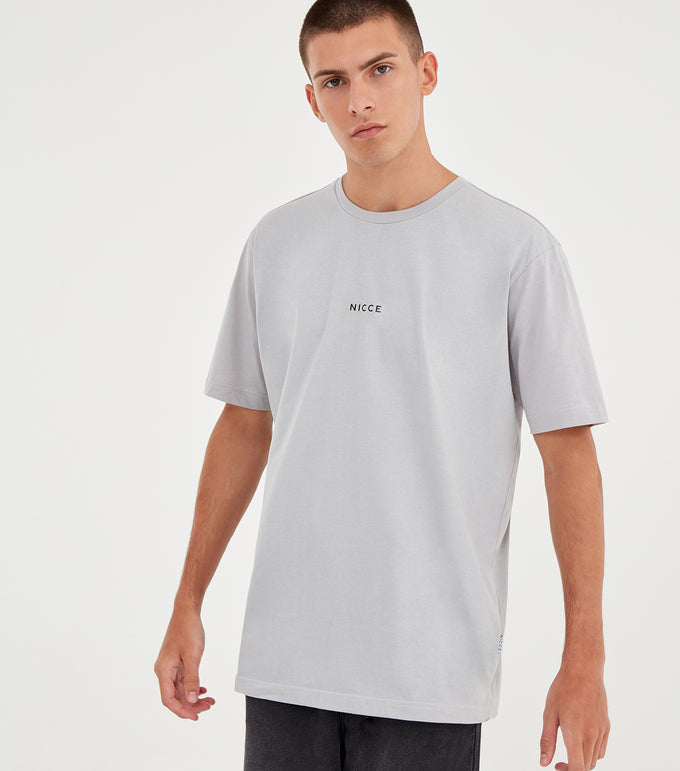 NICCE Mens Mini Centre Logo T-Shirt | Stone Grey, T-Shirts