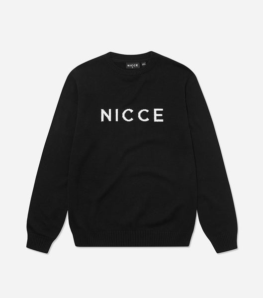 NICCE Mens Original Logo Knit Jumper | Black