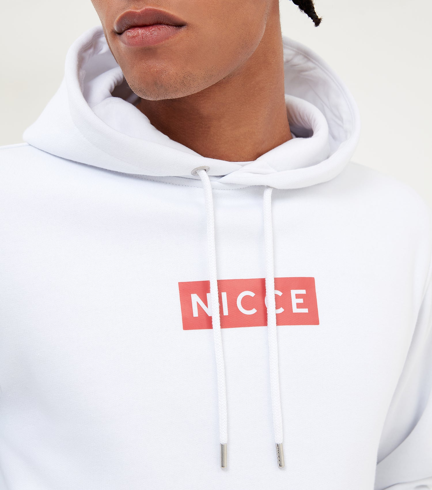 NICCE Mens Base Hood | White/Holly Berry, Hoodies
