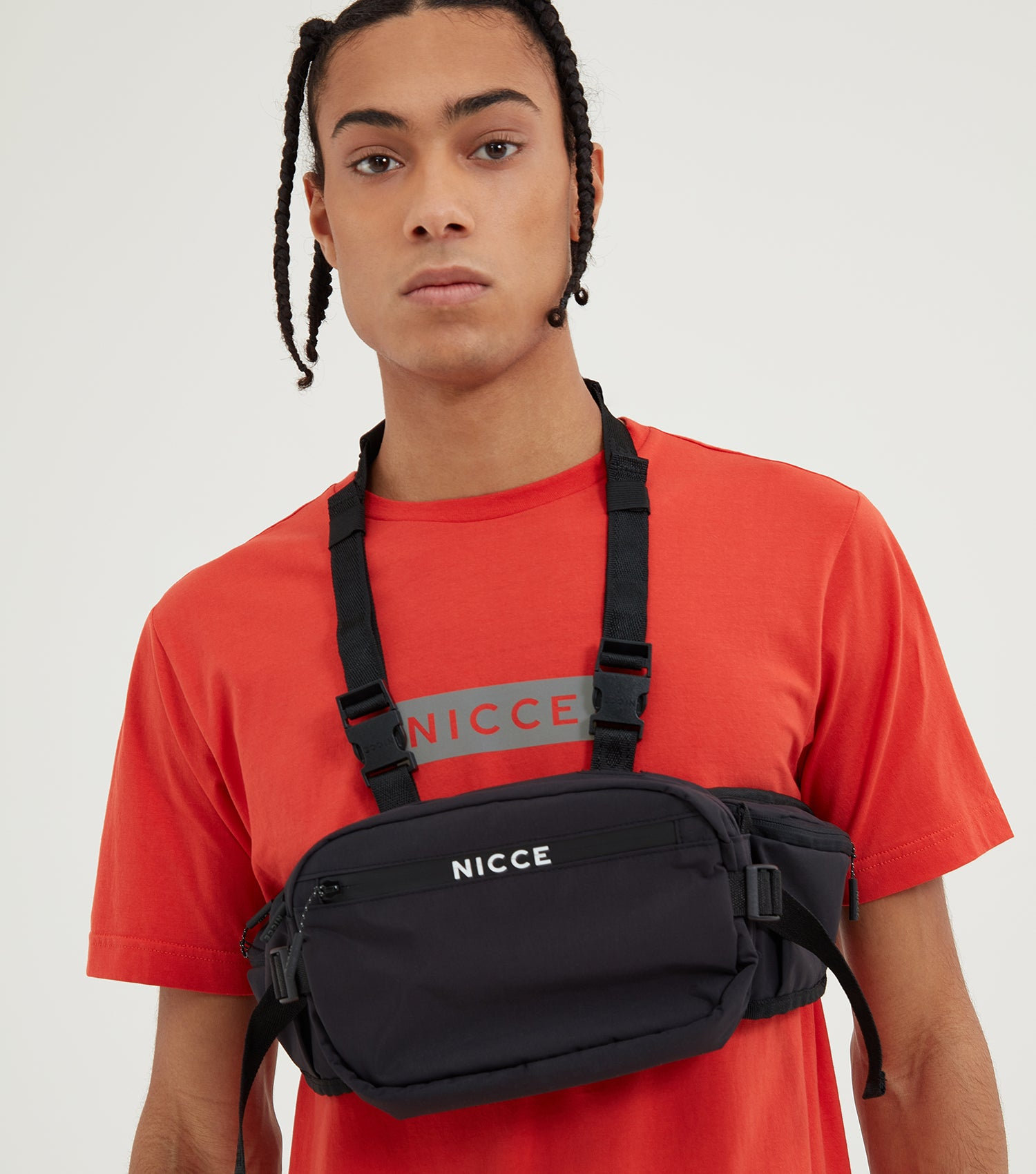 Nicce Mens Reflective Base T-Shirt | Aurora Red, T-Shirts