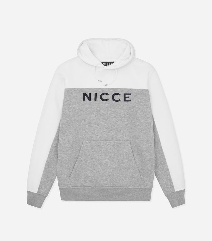 Nicce Mens Neptune Hood | White/ Light Grey Marl, Hoodies