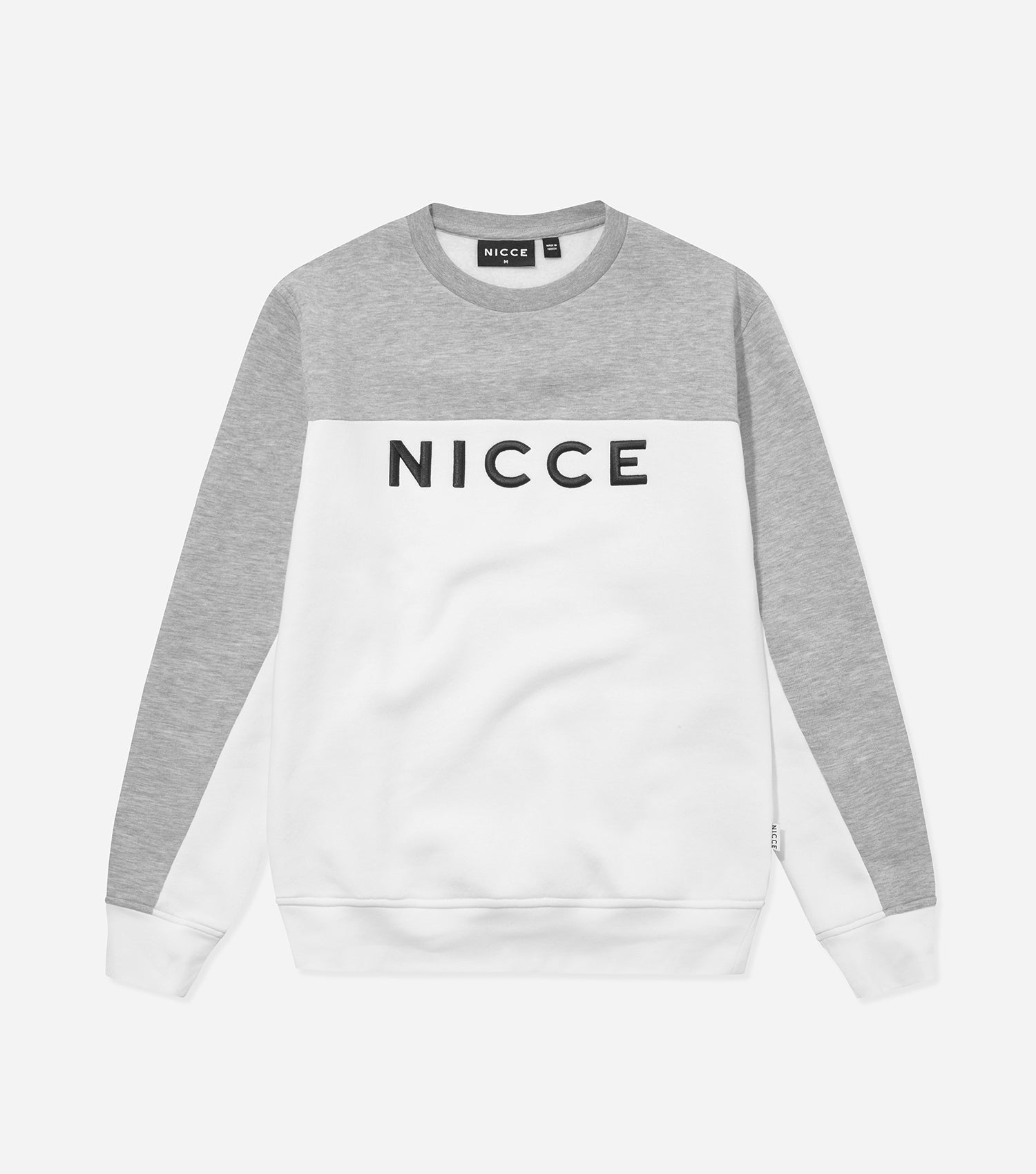 Nicce Mens Neptune Sweat | Light Grey Marl/White, Sweatshirts