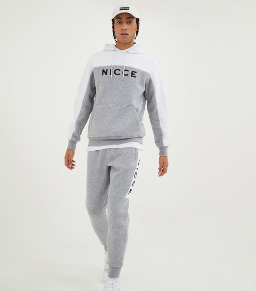 Nicce Mens Neptune Joggers | Light Grey Marl/White, JOGGERS/TRACK PANTS