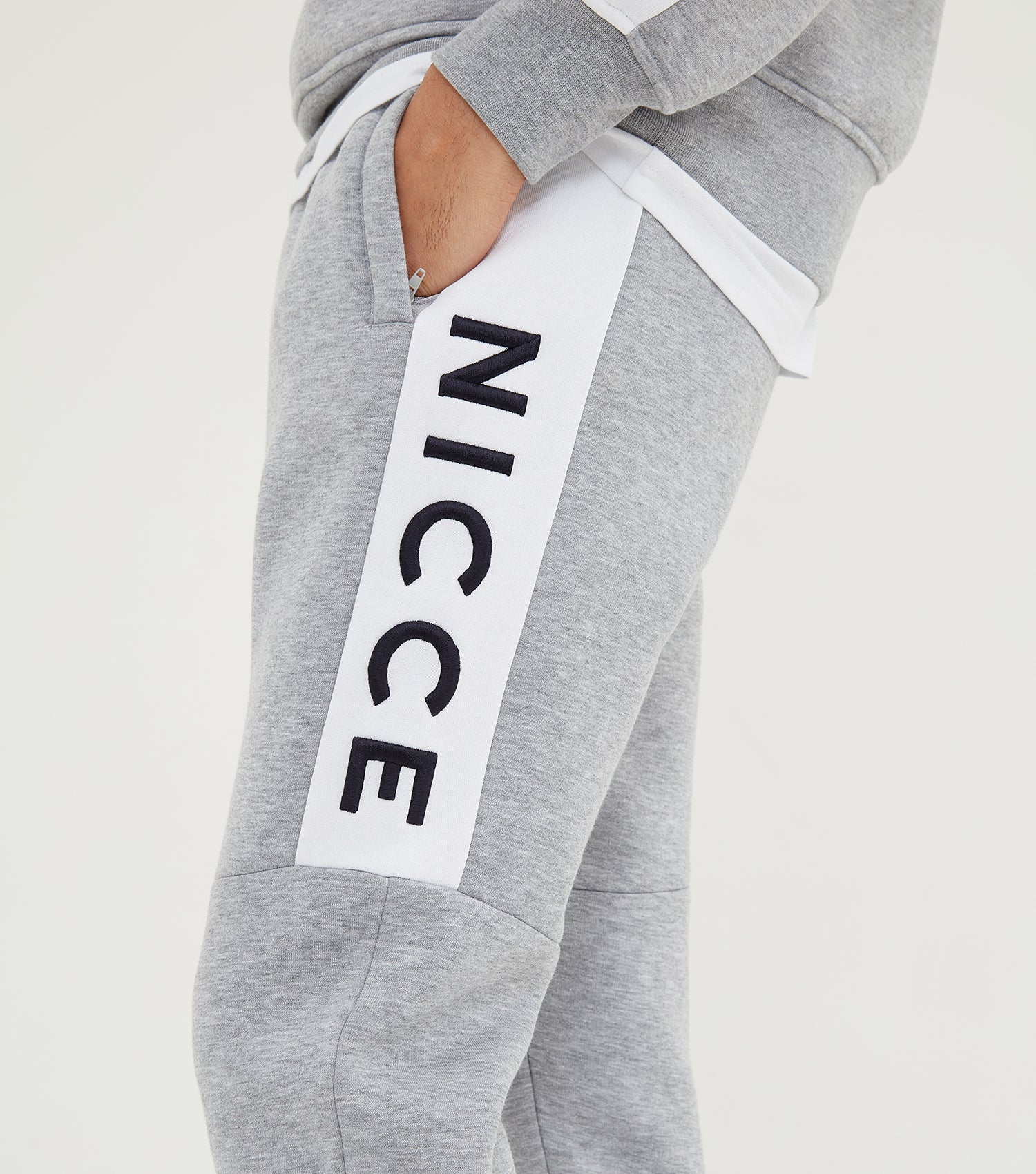 Nicce Mens Neptune Joggers | Light Grey Marl/White, Joggers