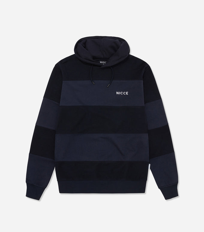 Nicce Mens Riva Stripe Hood | Deep Navy, Hoodies