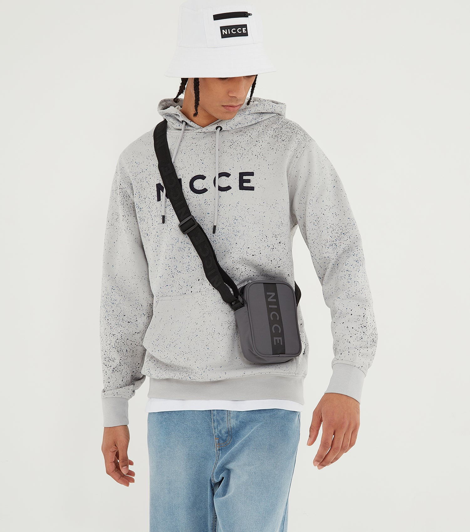 Nicce Mens Splatter Hood | Stone Grey, Hoodies