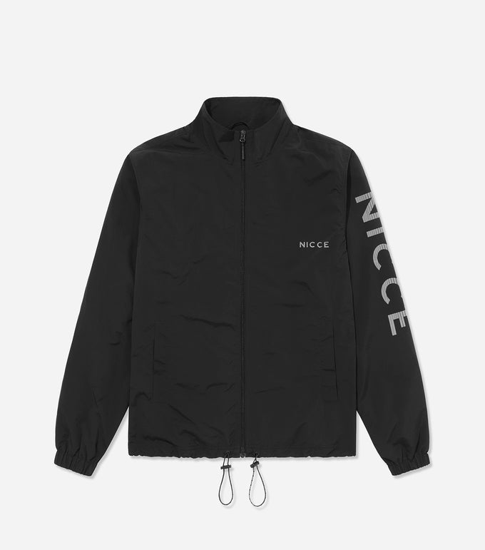 Nicce Mens Reflective Jolla Zip Through Jacket | Black, Sweatshirts