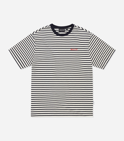 Nicce Mens Riva Stripe OS T-Shirt | Deep Navy/White, T-Shirts
