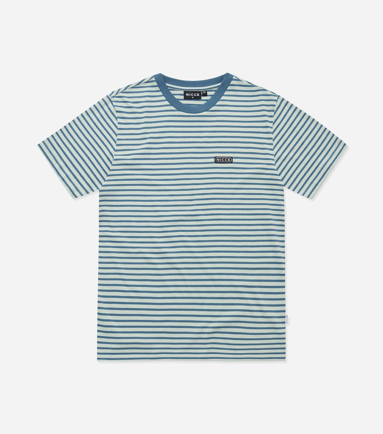 Nicce Mens Riva Stripe OS T-Shirt | Mint/Blue Mirage, T-Shirts