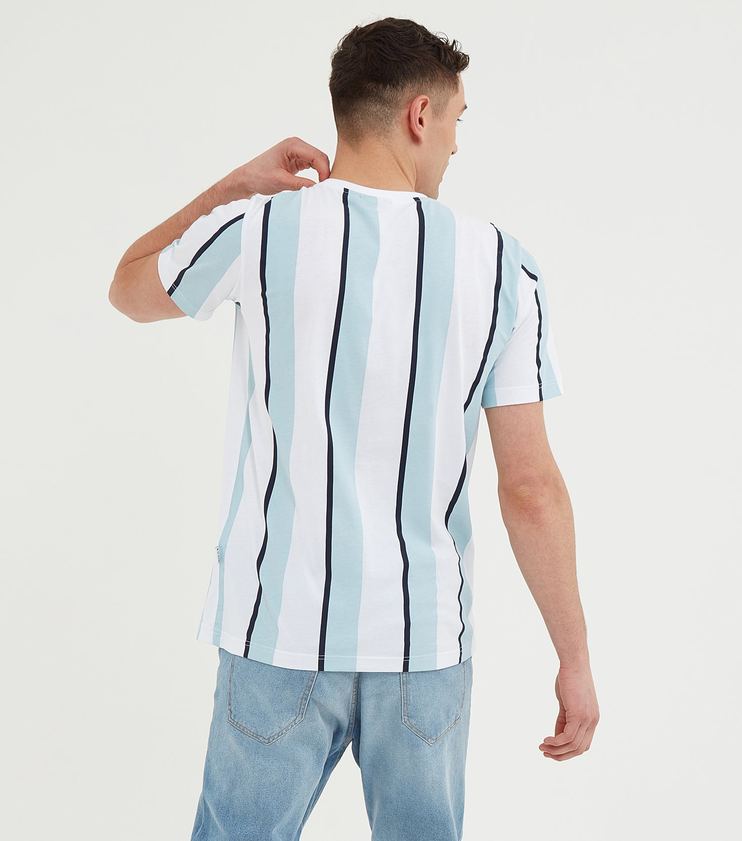 Nicce Mens Stripe T-Shirt | Sterling Blue/White, T-Shirts