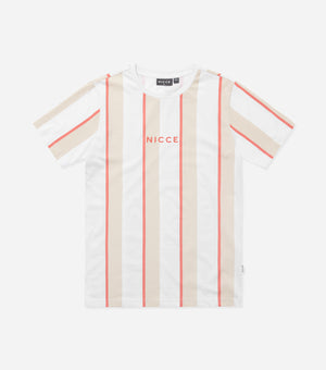 Nicce Mens Stripe T-Shirt | White/ Umber/ Lava Red