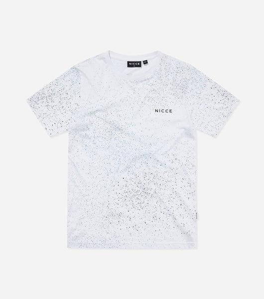 Nicce Mens Splatter T-Shirt |White/Blue, T-Shirts