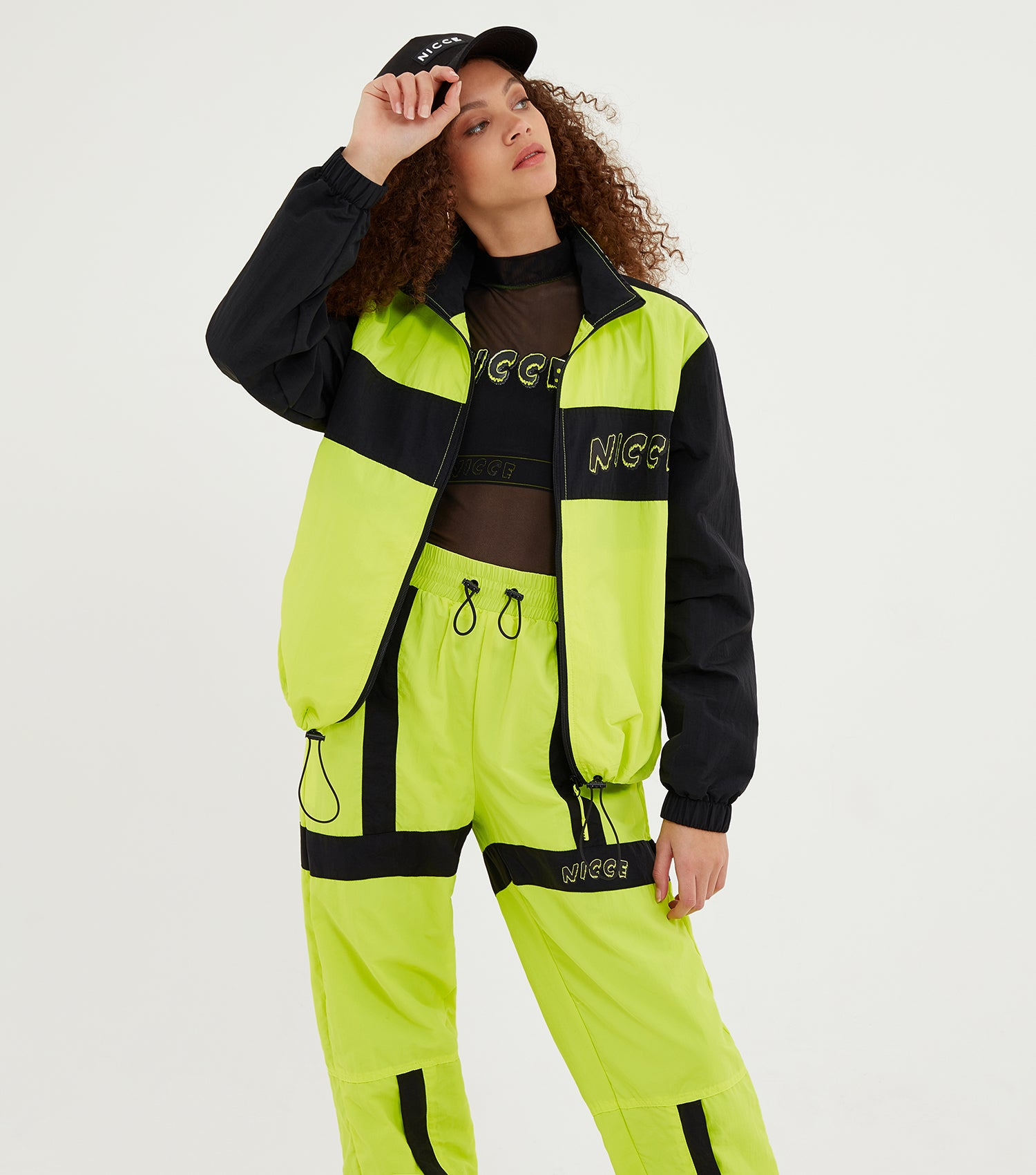 NICCE Womens Fusion Jacket | Neon Yellow / Black, Outerwear