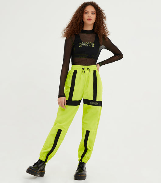 NICCE Womens Fusion Track Pants | Neon Yellow/ Black, Pants