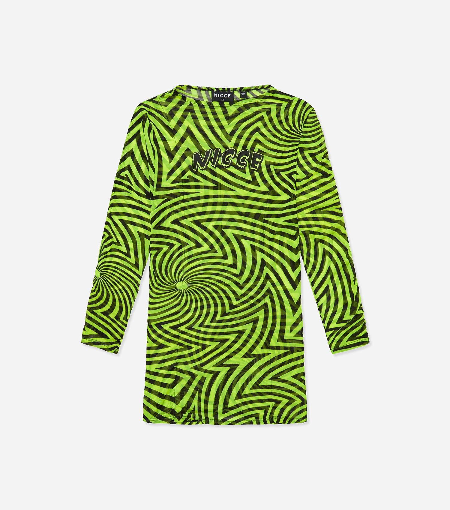 NICCE Womens Vortex Ruched LS Tee | Neon Yellow / Black, T-Shirts