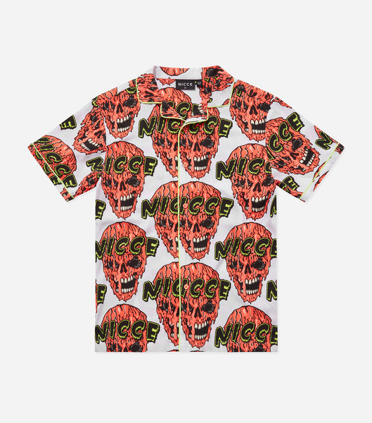 NICCE Mens Cranium Shirt | White/Fiery Coral, Shirts