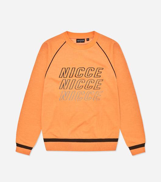 Nicce Mens Apollo Sweat | Orange Clownfish/Black, Sweaters