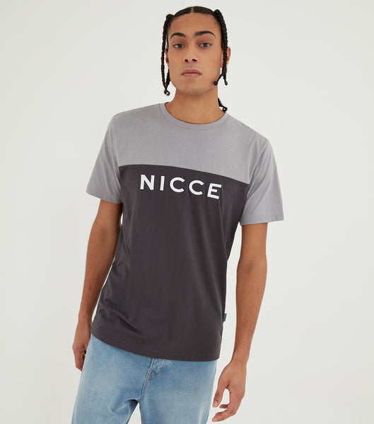 Nicce Mens Neptune T-Shirt | Coal/Drizzle Grey, T-SHIRT SHORT SLEEVED
